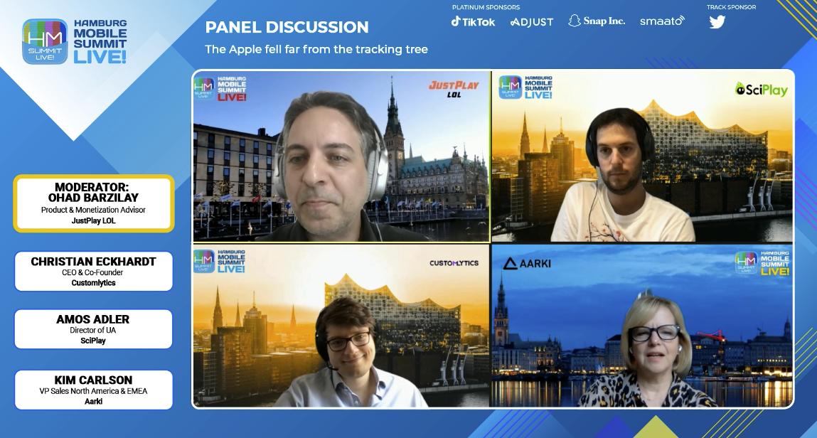 Aarki at Hamburg Mobile Summit App Tracking Transparency Panel with Customlytics JustPlay LOL Sciplay Corporation