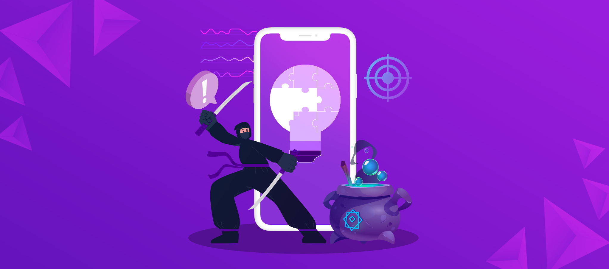 Mobile gaming icons on a screen, RPG, Puzzle, hyper casual