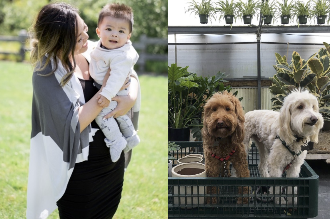 Linda with son and pets