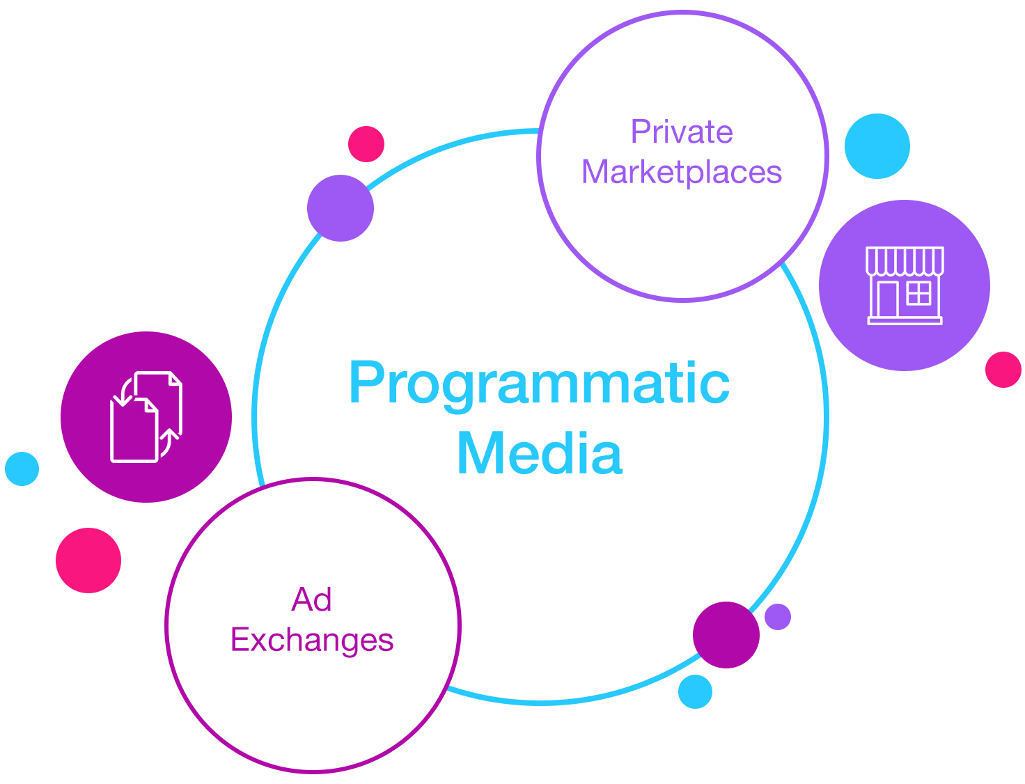 Programmatic media buying through ad exchanges and private marketplaces