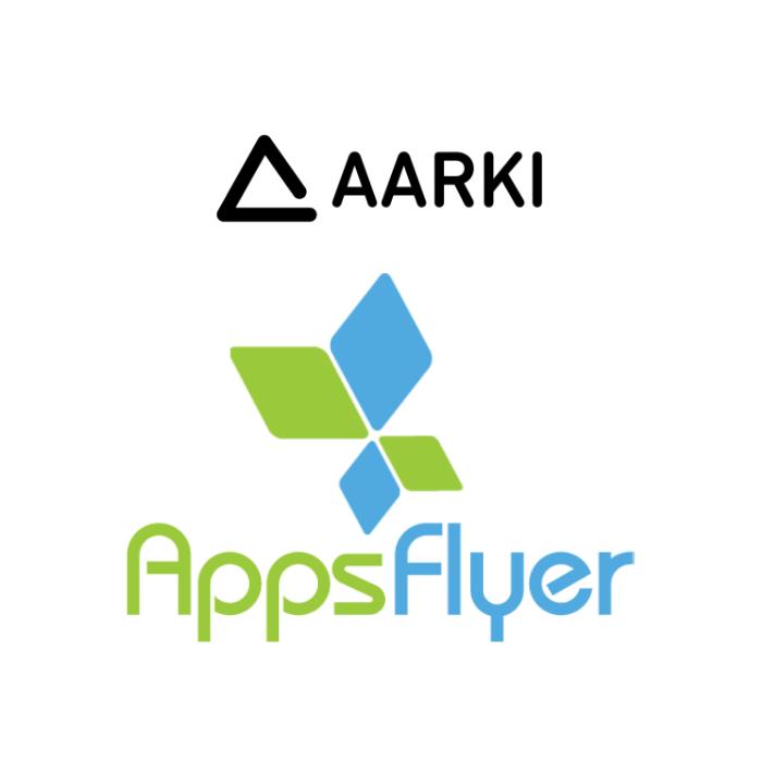 Aarki and AppsFlyer logos